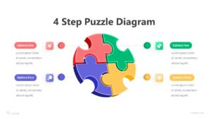 4 Step Puzzle Diagram Infographic Template
