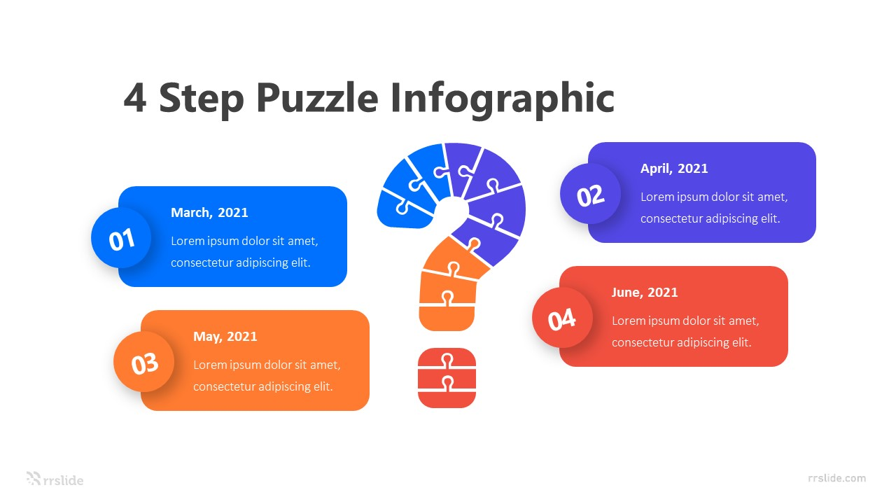 4 Step Question Puzzle Infographic Template