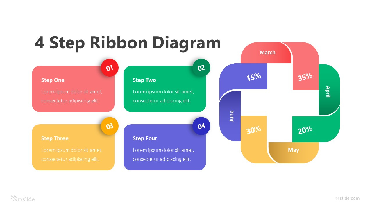 4 Step Ribbon Diagram Infographic Template