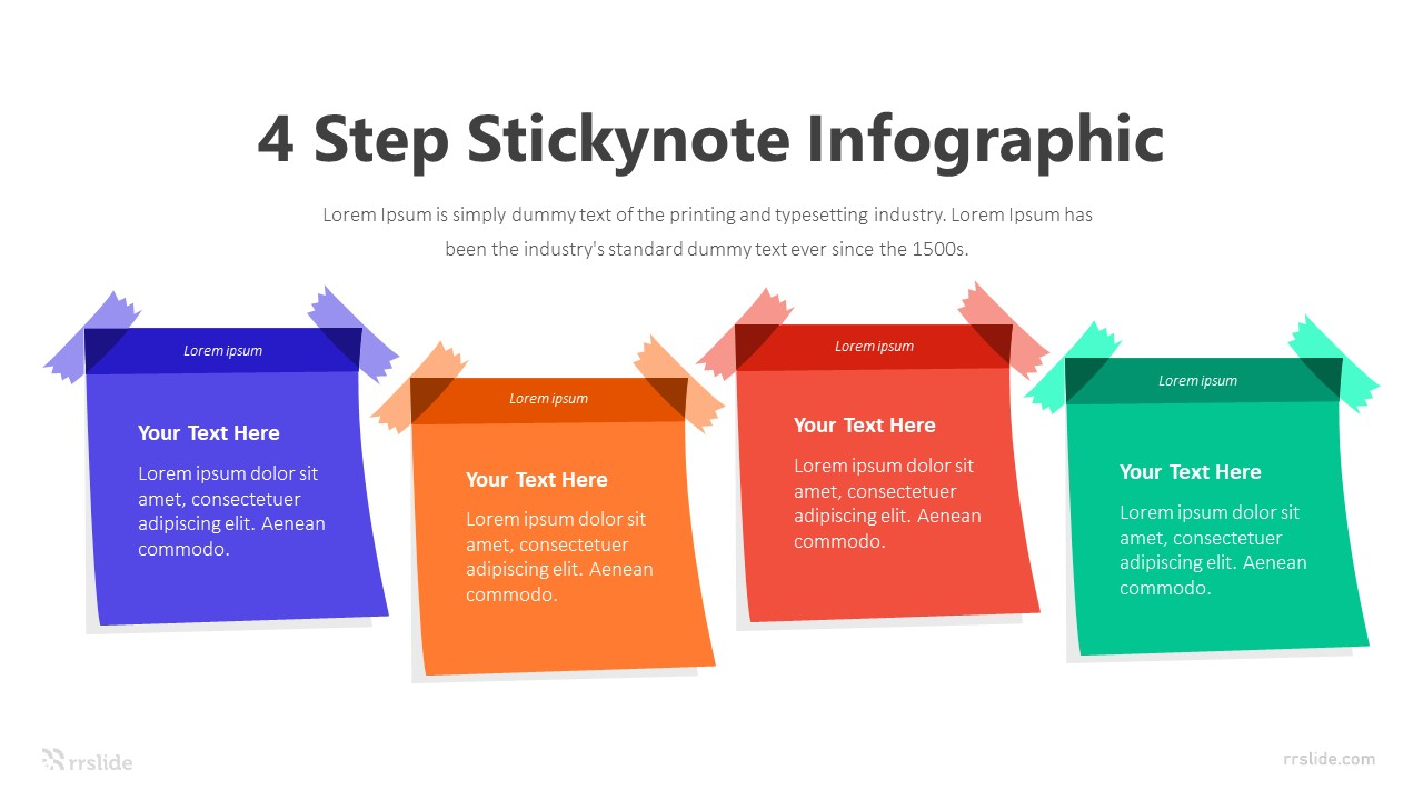 4 Step Stickynote Infographic Template