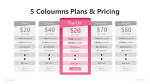 5 Columns Plans and Pricing Infographic Template