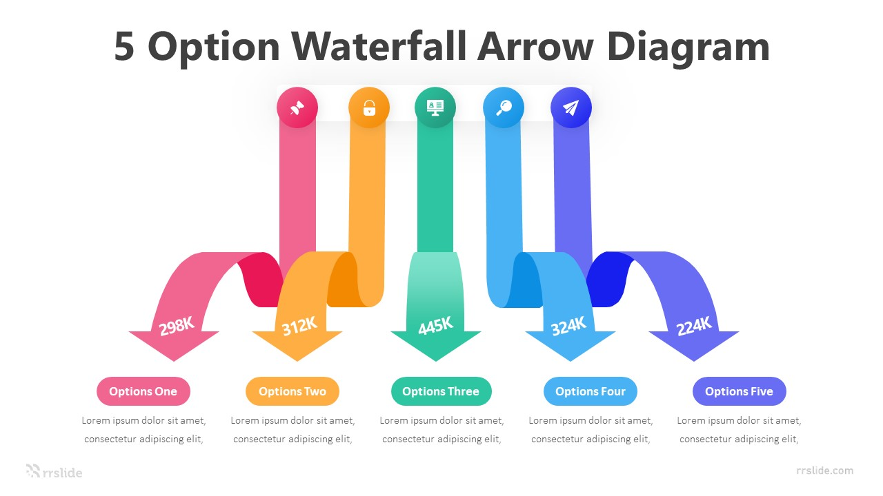 5 Option Waterfall Arrow Diagram Infographic Template