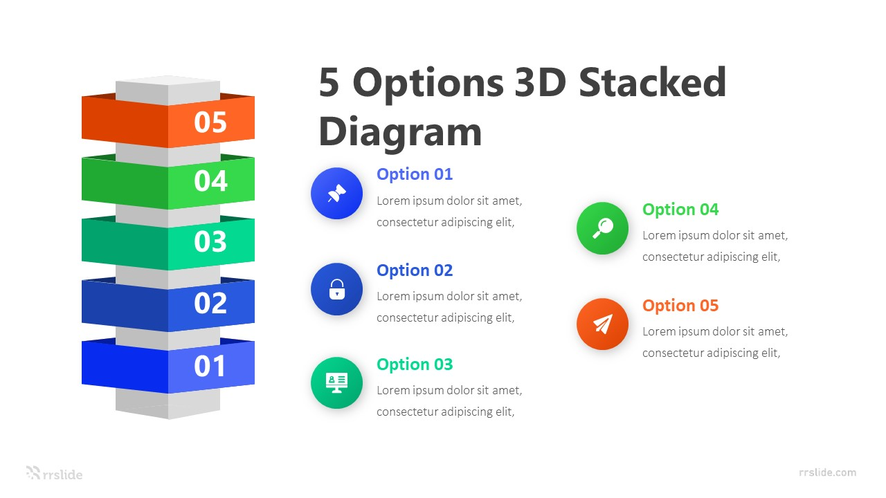 5 Options 3D Stacked Diagram Infographic Template