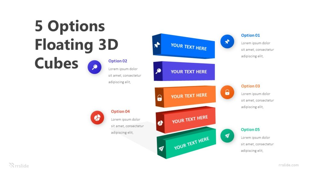 5 Options Floating 3D Cubes Infographic Template