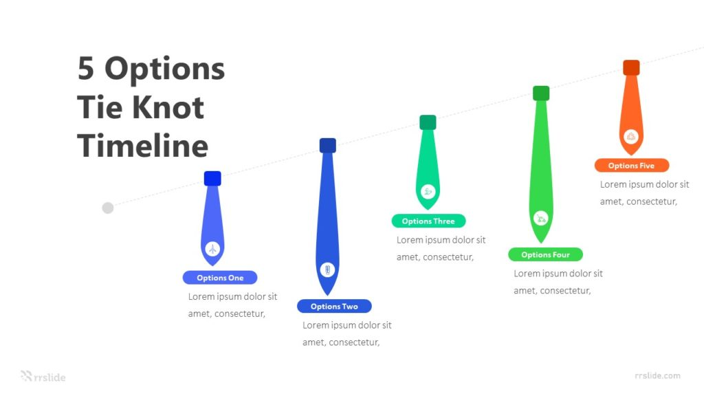 5 Options Tie Knot Timeline Infographic Template