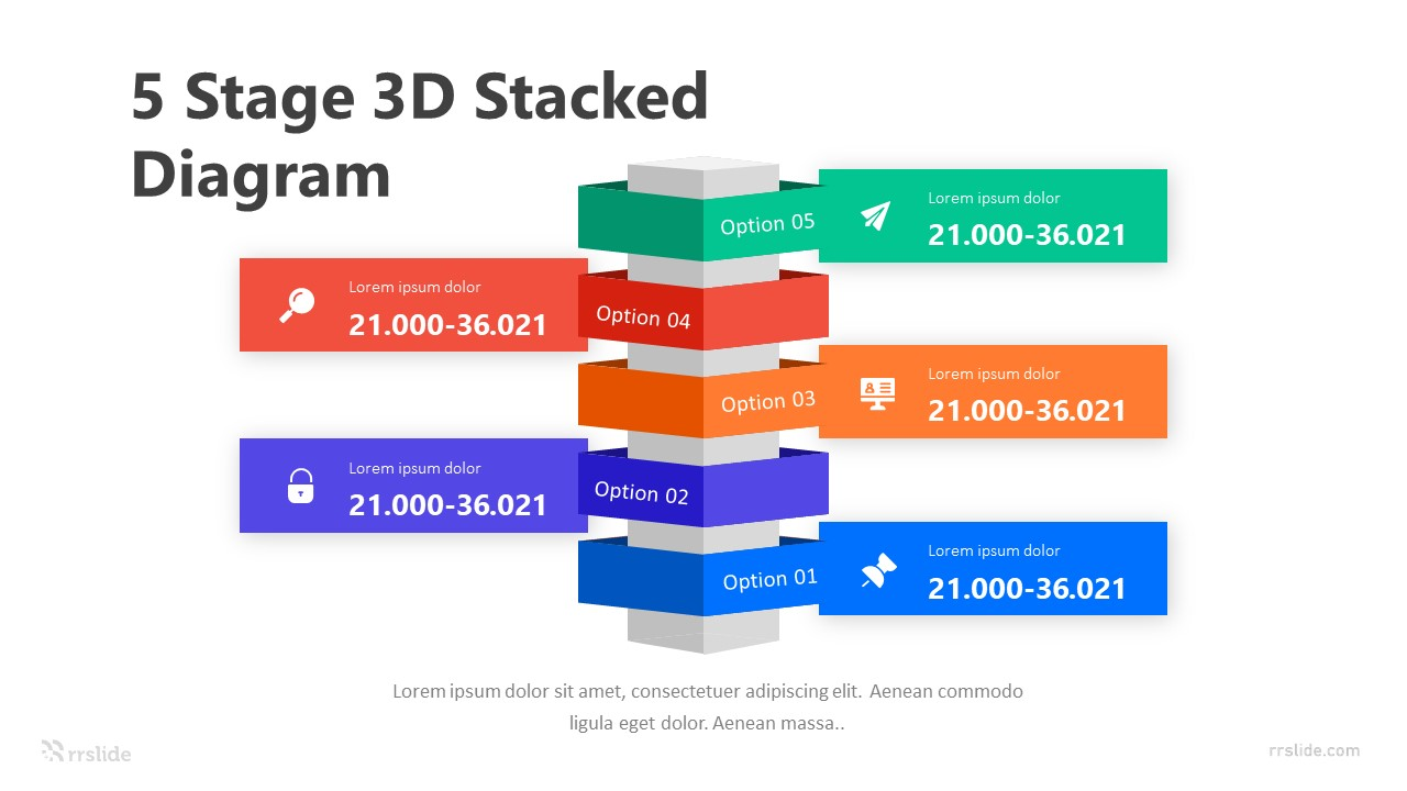 5 Stage 3D Stacked Diagram Infographic Template