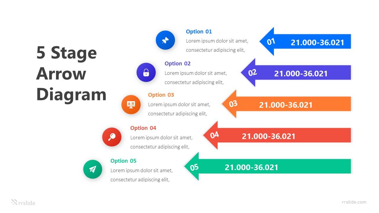 5 Stage Arrow Diagram Infograpic Template