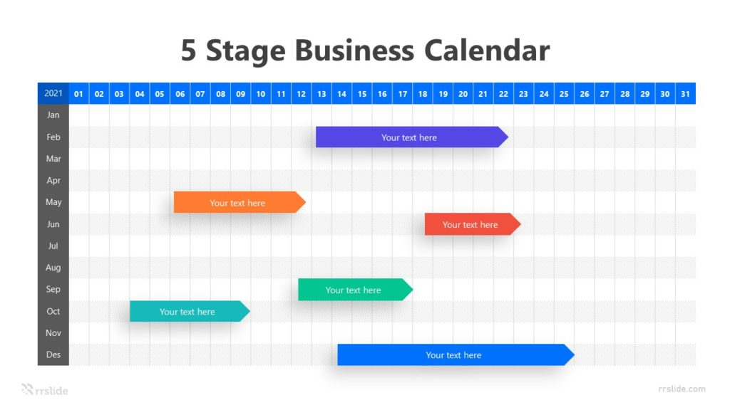 5 Stage Business Calendar Infographic Template