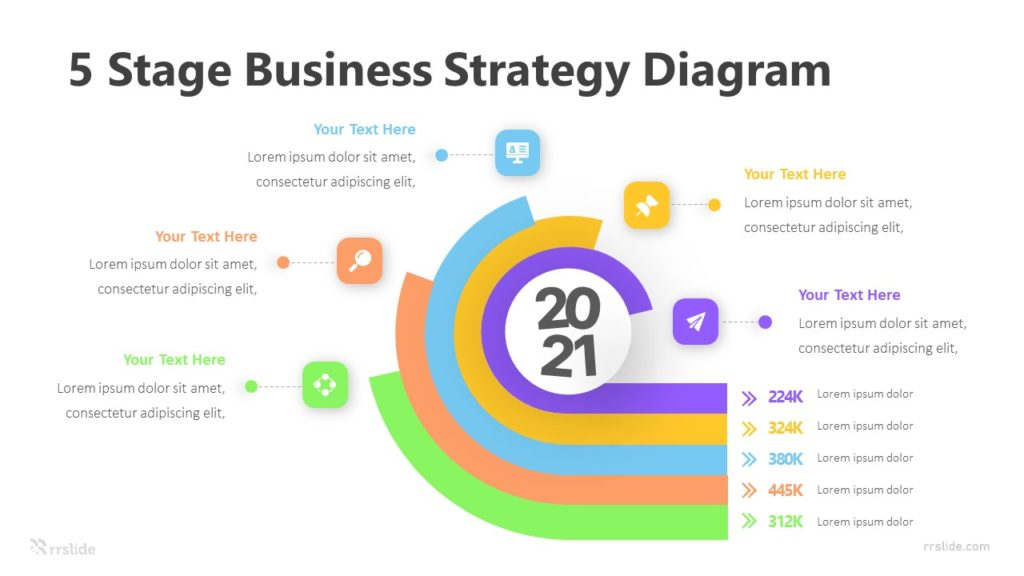 5 Stage Business Strategy Diagram Infographic Template