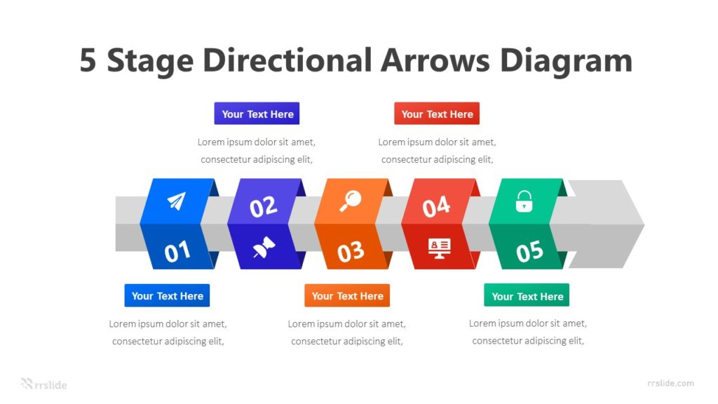 5 Stage Directional Arrows Diagram Infographic Template
