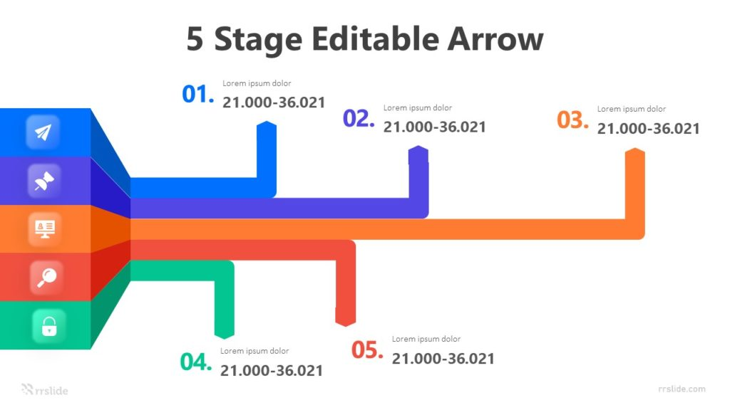 5 Stage Editable Arrow Infographic Template