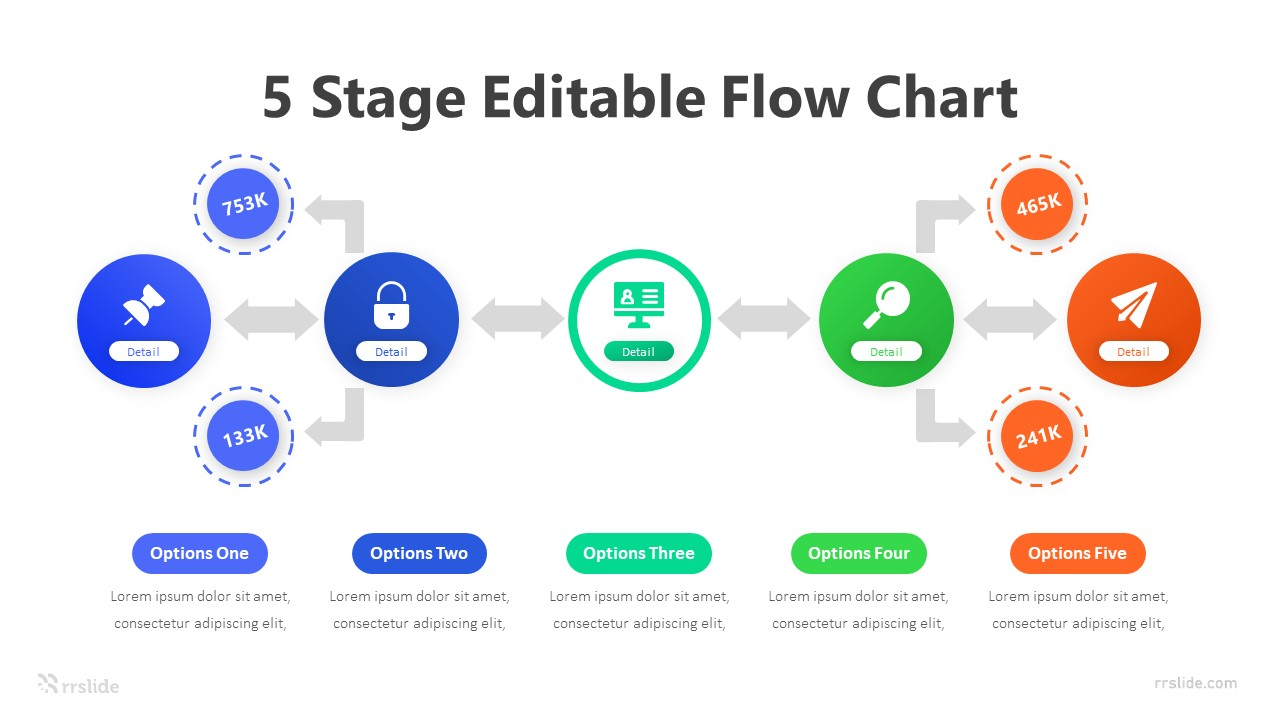 5 Stage Editable Flow Chart Infographic Template