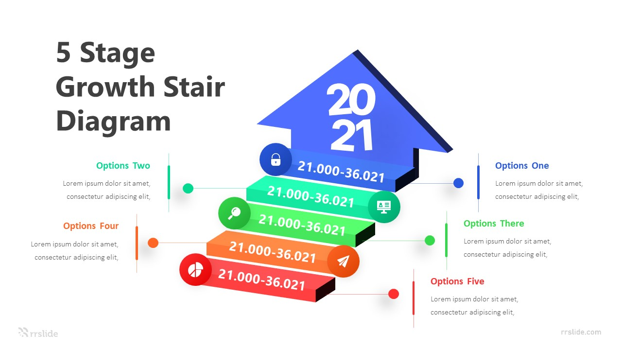 5 Stage Growth Stair Diagram Infographic Template
