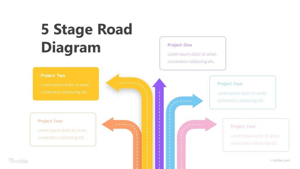 5 Stage Road Diagram Infographic Template