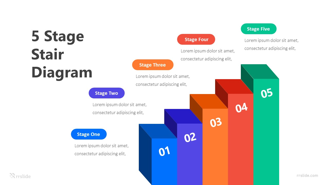 5 Stage Stair Diagram Infographic Template