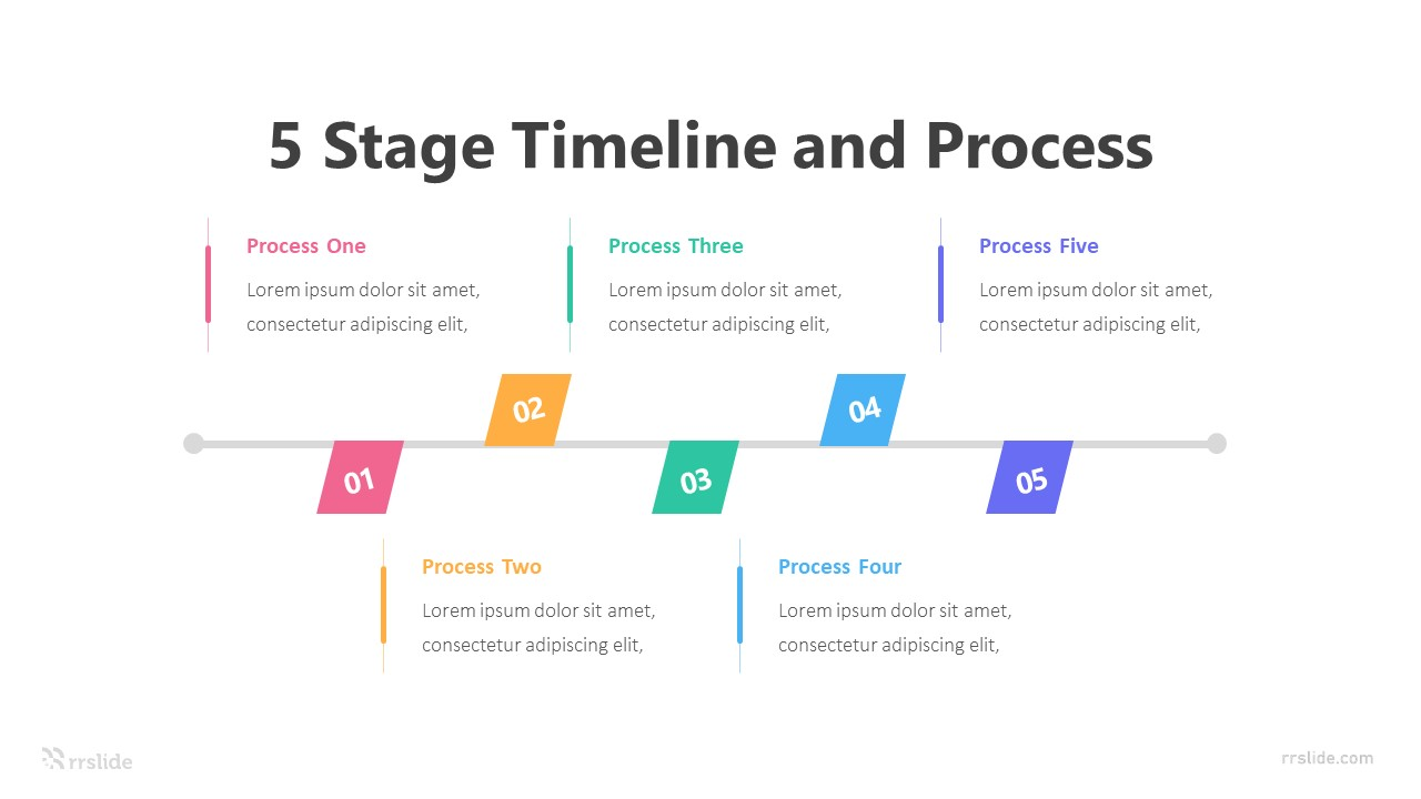 5 Stage Timeline and Process Infographic Template