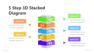 5 Step 3D Stacked Diagram Infographic Template