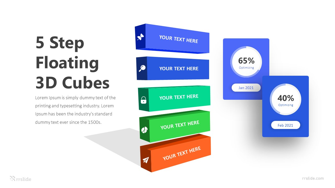 5 Step Floating 3D Cubes Infographic Template