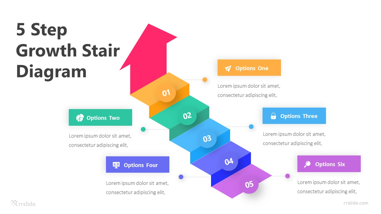 5 Step Growth Stair Diagram Infographic Template