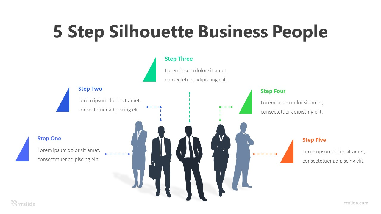 5 Step Silhouette Business People Infographic Template