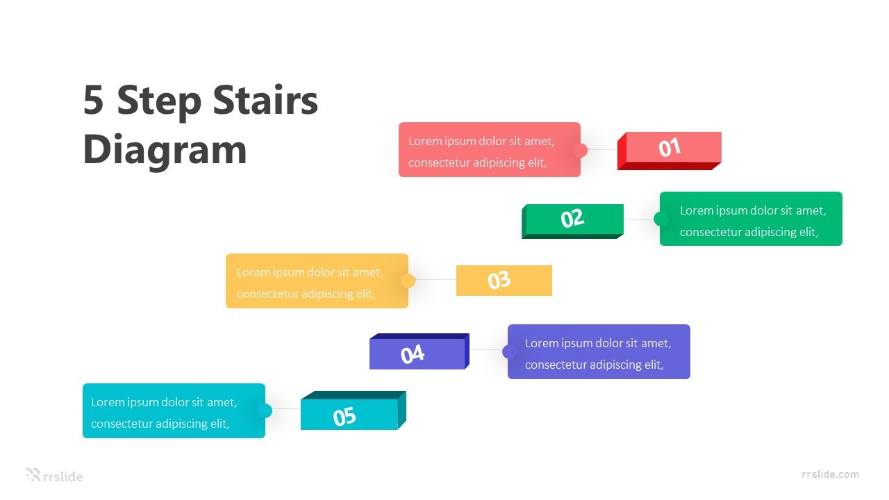 5 Steps Stairs Diagram Infographic Template