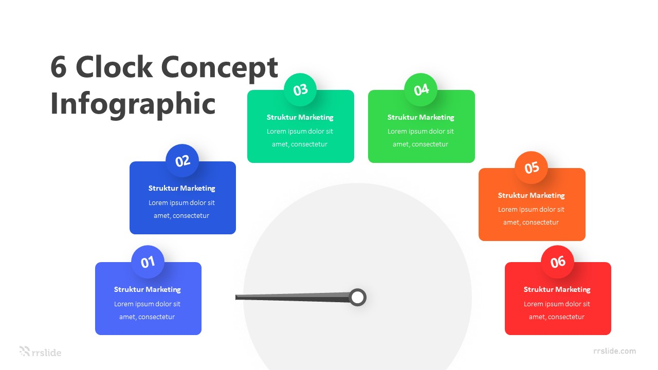 6 Clock Concept Infographic Template
