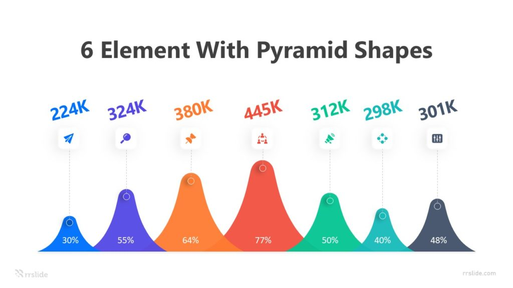 6 Element with Pyramid Shapes Infographic Template