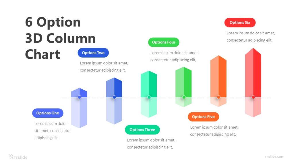 6 Option 3D Column Chart Infographic Template
