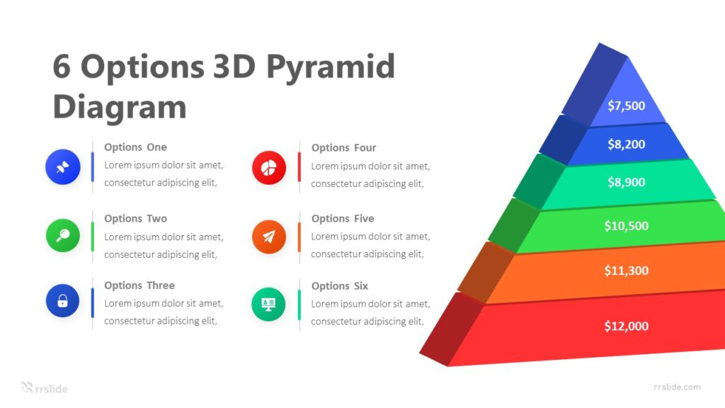 6 Options 3D Pyramid Infographic Template