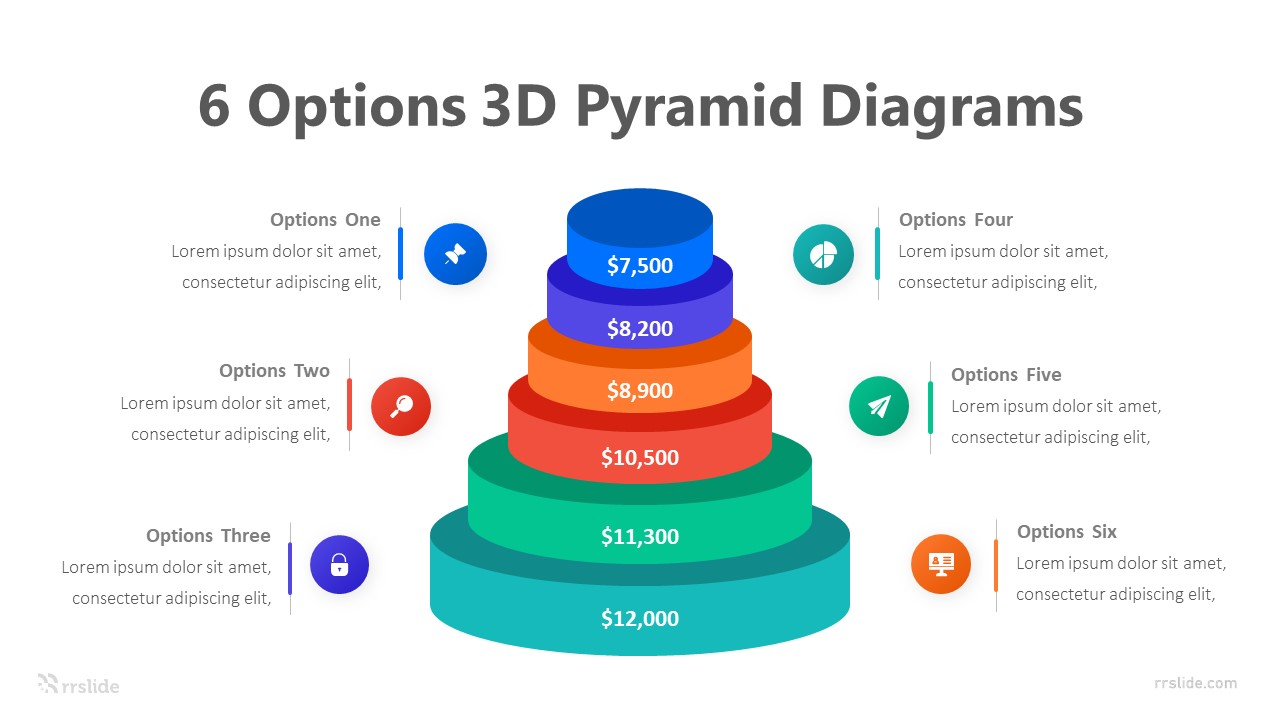 6 Options 3D Pyramid Diagrams Infographic Template