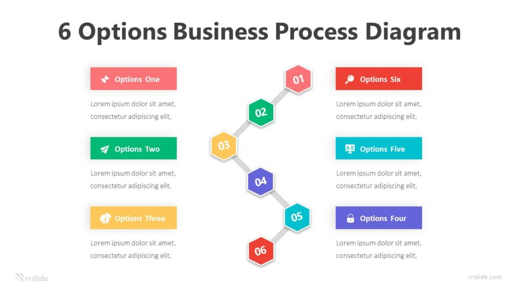 6 Options Business Process Diagram Infographic Template