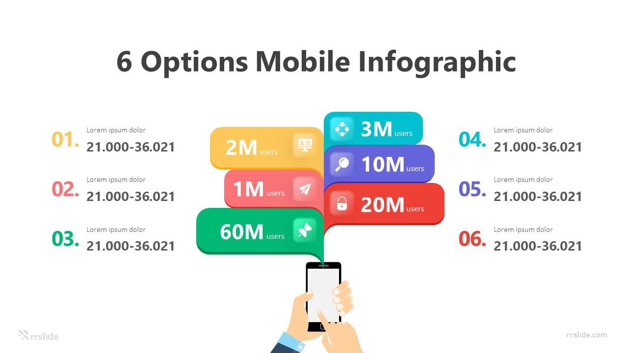 6 Options Mobile Infographic Template