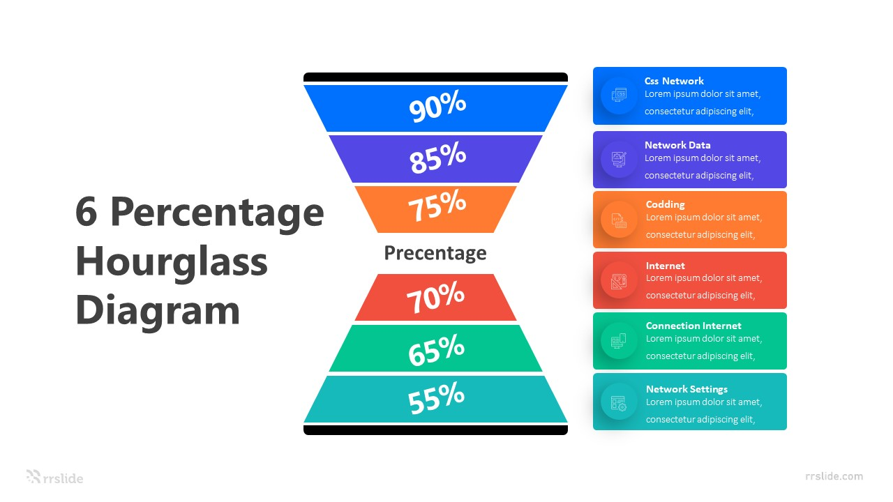 6 Percentage Hourglass Diagram Infographic Template