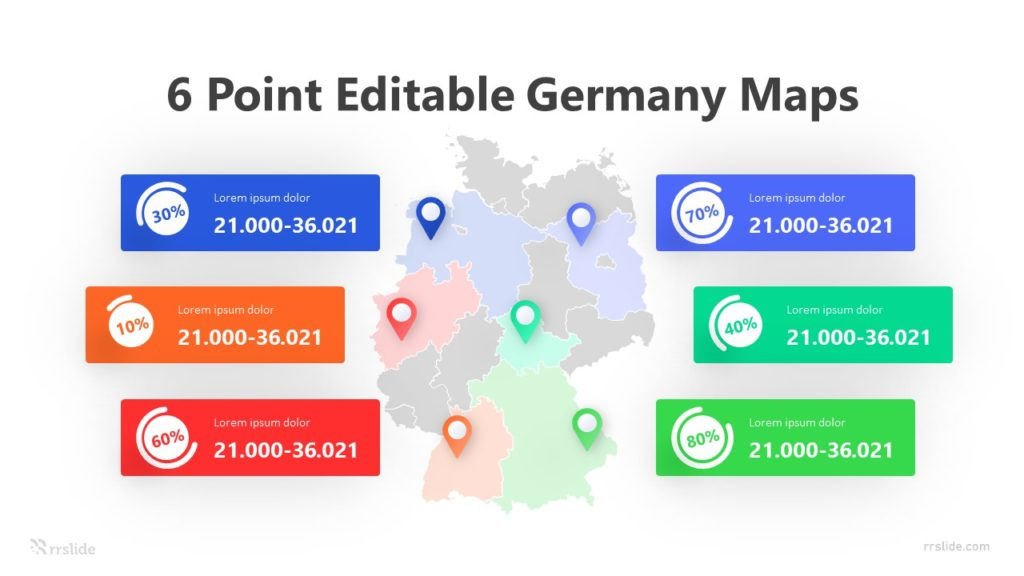6 Point Editable Germany Maps Infographic Template