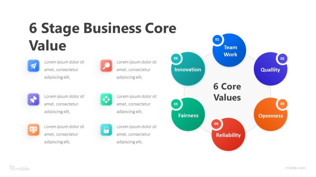 6 Stage Business Core Value Infographic Template