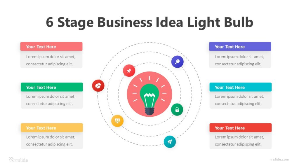 6 Stage Business Idea Light Bulb Infographic Template