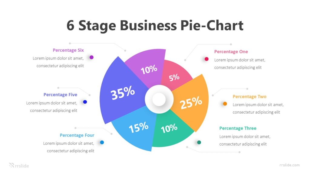 6 Stage Business Pie Chart Infographic Template