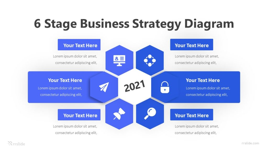 6 Stage Business Strategy Diagram Infographic Template