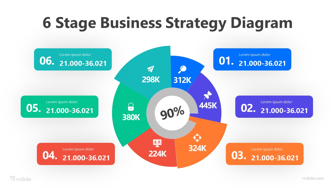 6 Stage Business Strategy Diagram Infograpic Template
