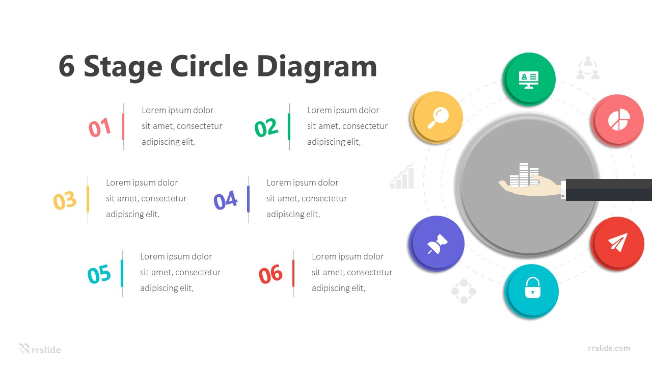 6 Stage Circle Diagram Infographic Template