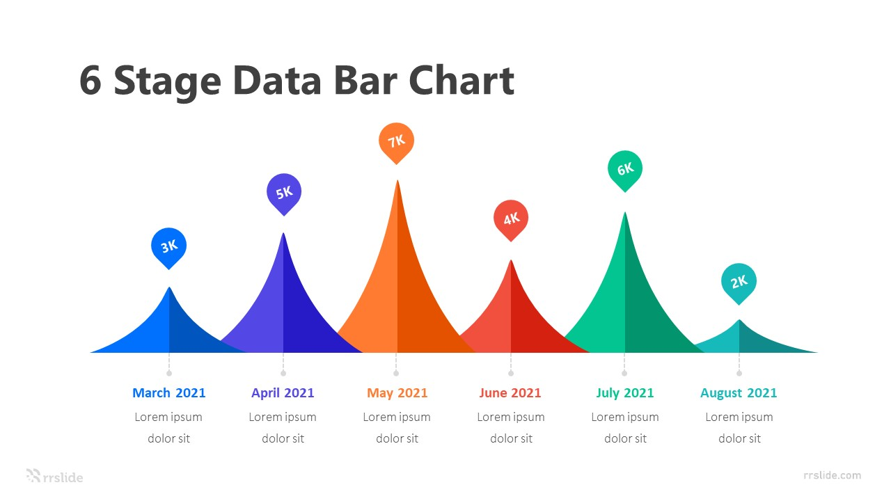 6 Stage Data Bar Chart Infographic Template