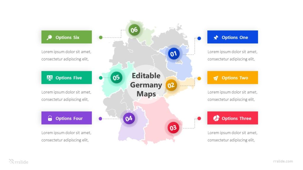 6 Elements Editable Germany Maps Infographic Template