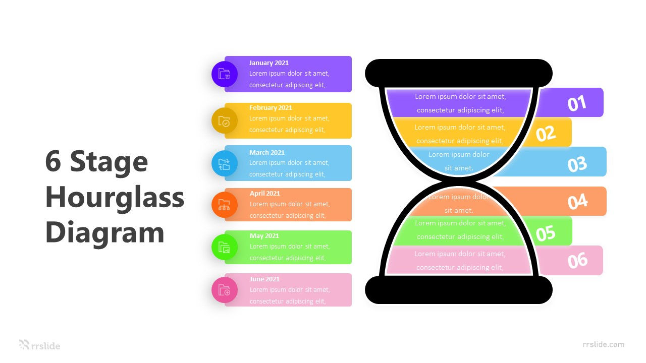 6 Stage Hourglass Diagram Infographic Template