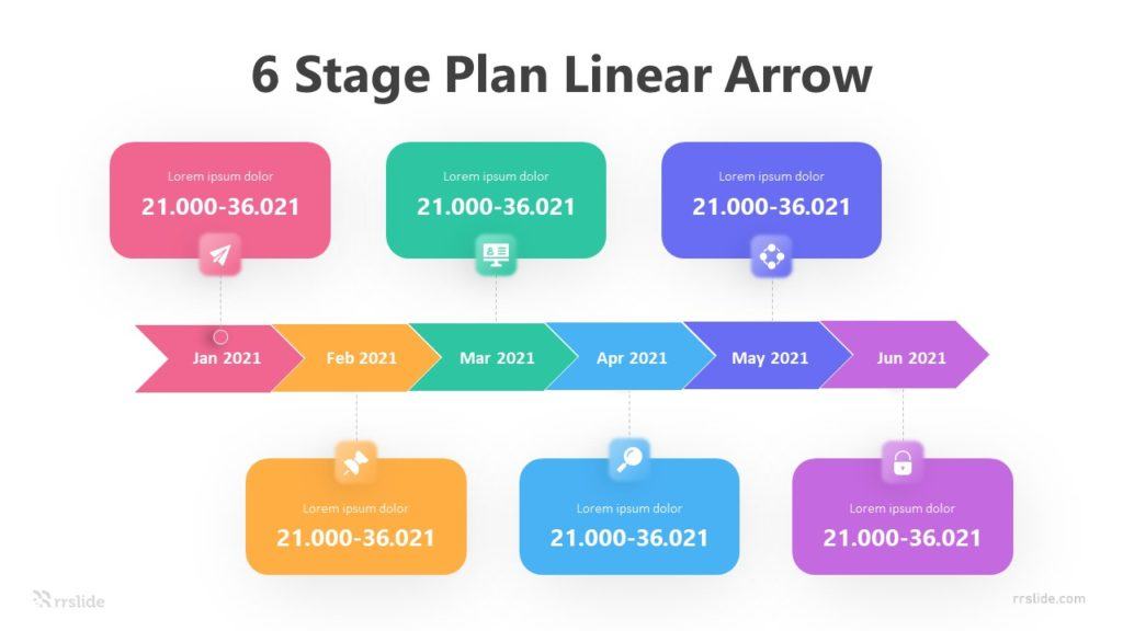 6 Stage Plan Linear Arrow Infographic Template