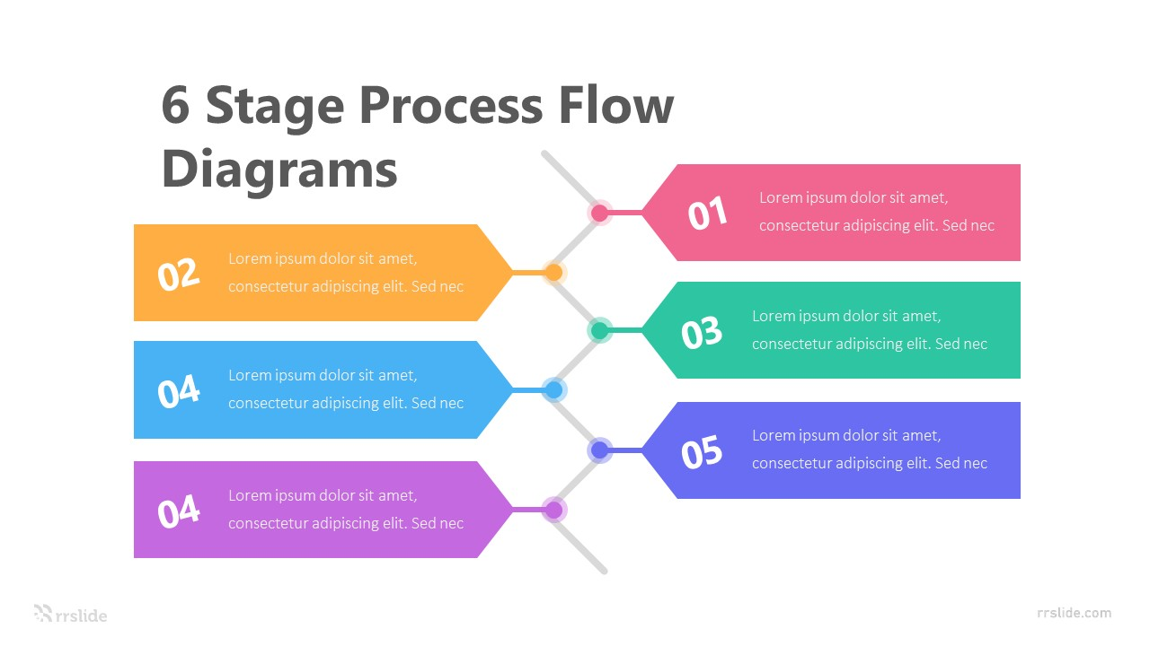 6 Stage Process Flow Diagrams Infographic Template