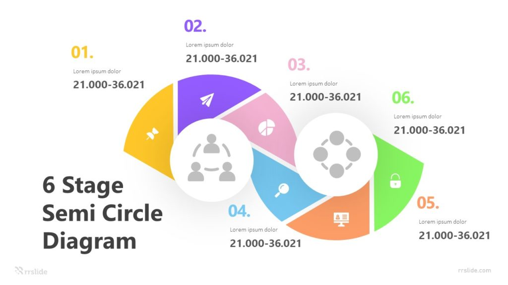 6 Stage Semi Circle Diagram Infographic Template