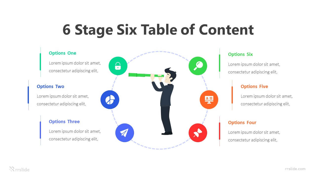 6 Stage Six Table of Content Infographic Template
