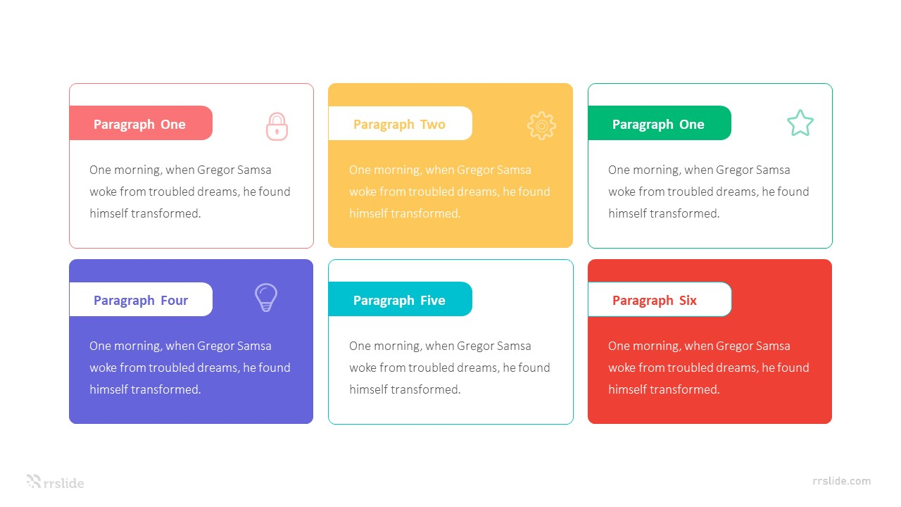 6 Stage Text Boxes Layout Infographic Template