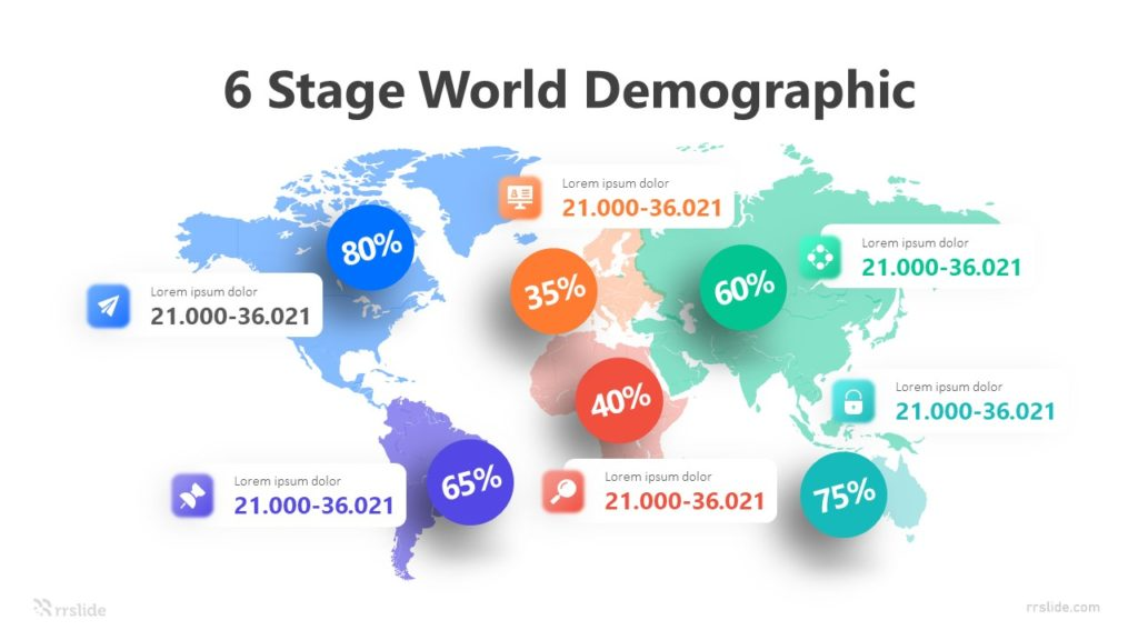 6 Stage World Demographic Infographic Template