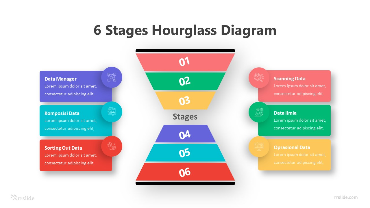 6 Stages Hourglass Diagram Infographic Template